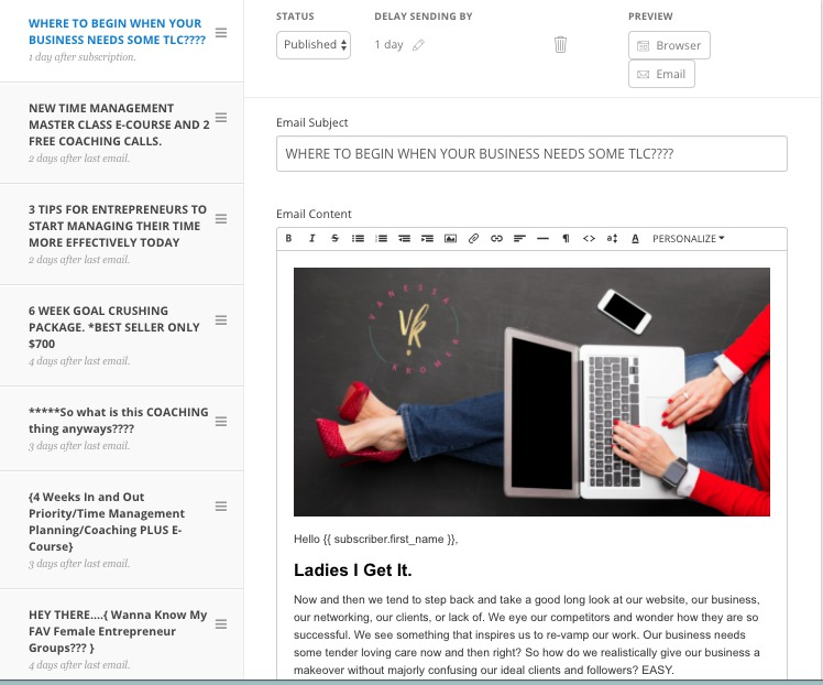 email marekting, small business saturday, free coaching, female life coaching, female success coaching, business women, young entrepreneurs., millennial coaching, girl boss, WAHM, business woman, encouragement, motivation, accountability, goal setting, ROI, flash sale, goal crushing, goal setter, ecourse, online learning, teachable, FREE, website evaluation